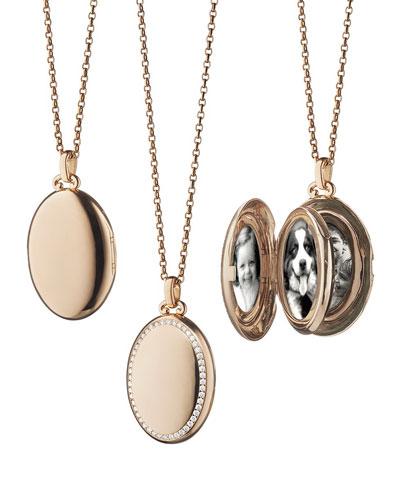 18k Rose Gold & Diamond Locket Necklace