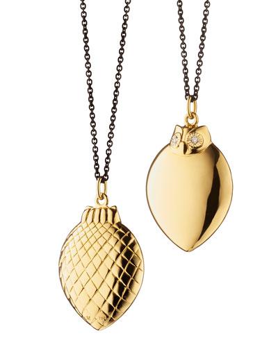 18K Gold Owl Pendant Necklace, 32