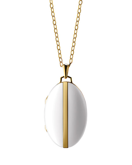 18K Gold Diamond-Striped Ceramic Locket Necklace