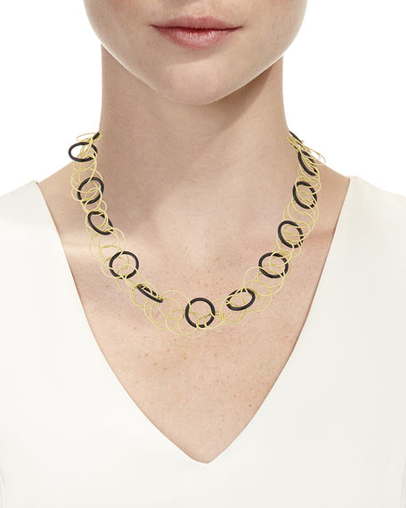 Hawaii 18k Yellow Gold & Black Onyx Long Necklace