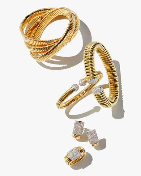 Alberto Milani 18k Gold Tubogas Wide Cuff Bracelet w/ Diamonds