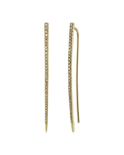 14k Gold Linear Diamond Pavé Drop Earrings