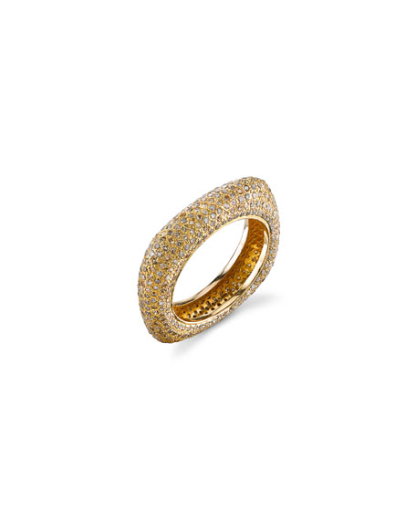 14k Gold Diamond Square Stack Ring, Size 8.5