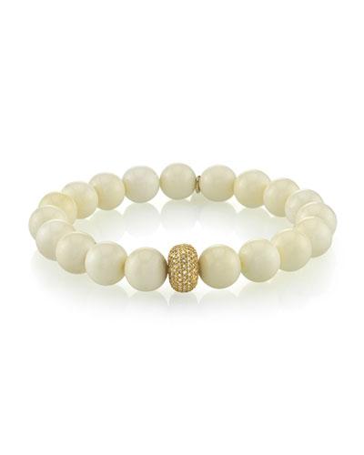 Beaded White Bone Bracelet w/ Diamond Station