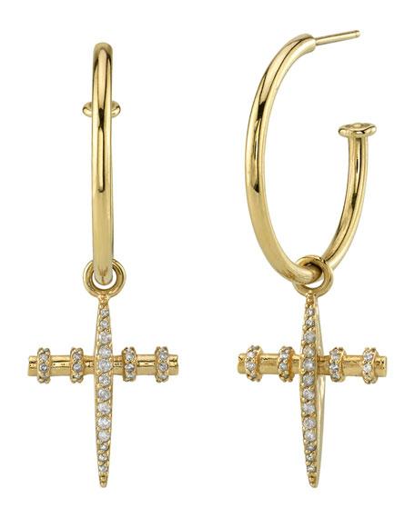 Sheryl Lowe 14k Gold Diamond Cross Charm Hoop