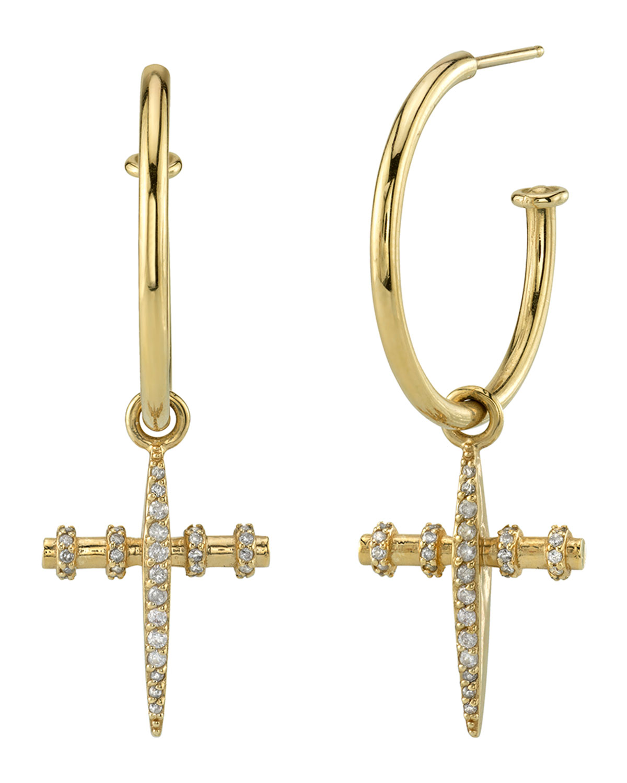 14k Gold Diamond Cross Charm Hoop Earrings