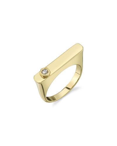 14k Gold Rectangular Tower Ring w/ Diamond Hexagon, Size 8