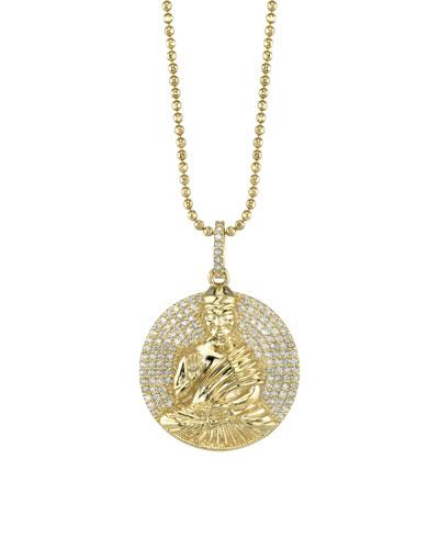 14k Gold Buddha Pendant Necklace w/ Diamonds