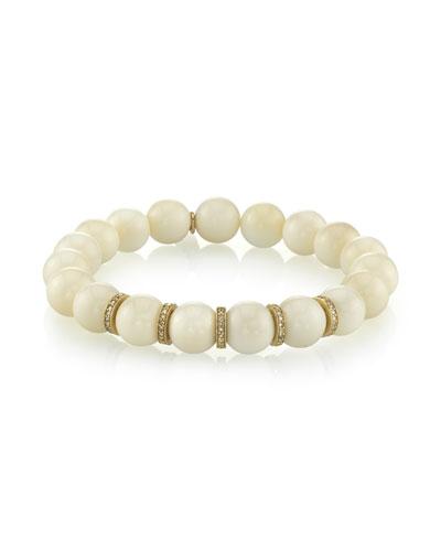 Beaded White Bone Bracelet w/ Diamond Rondelles