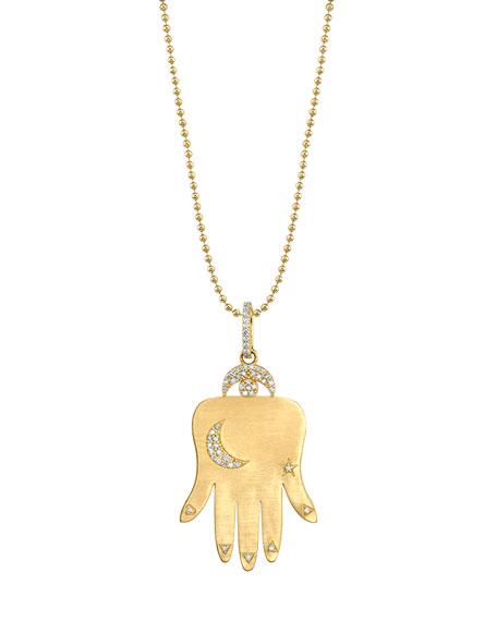 14k Gold Hamsa Pendant Necklace w/ Diamonds