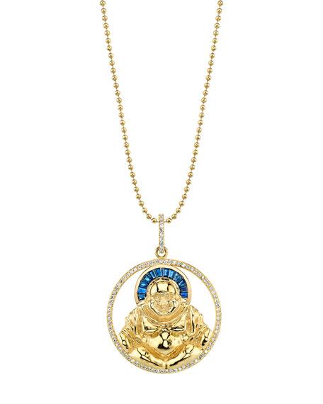 14k Gold Buddha Pendant Necklace w/ Diamonds & Sapphires