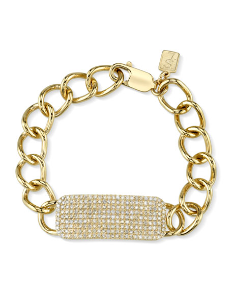 14k Gold Bracelet w/ Diamond ID Tag