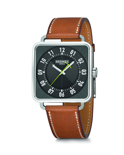 Carré H Watch, Stainless Steel & Leather Strap