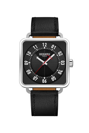 Hermès Carre H Watch, Stainless Steel & Leather Strap