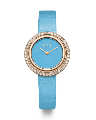 Possession 18k Rose Gold & Diamond Alligator Watch  Turquoise