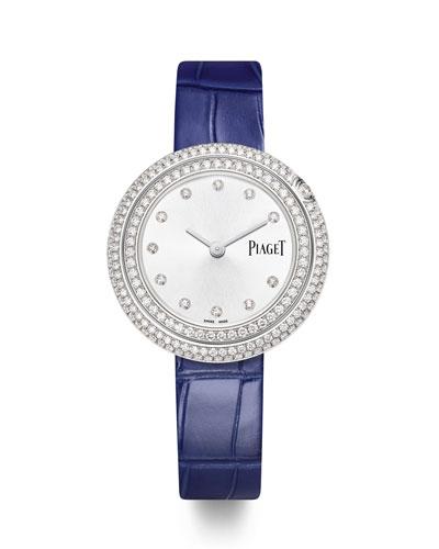 Possession 18k White Gold & Diamond Alligator Watch, 2.2tcw