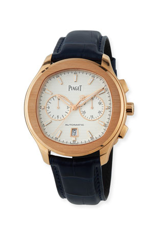 PIAGET Polo S 42mm Chronograph Watch w/ Alligator Strap, 18k Rose Gold