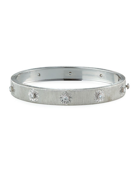 Classica 18k White Gold Diamond Bangle Bracelet