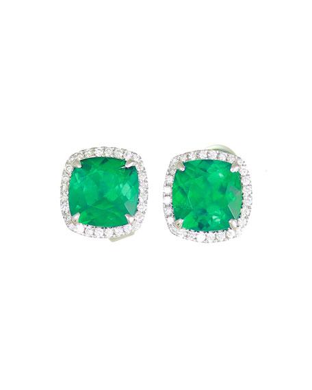 18K White Gold Cushion Lab-Created Emerald & Diamond Halo Stud Earrings