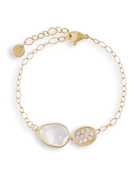 Lunaria Gold Two-Pendant Bracelet with White Mother-of-Pearl & Diamonds