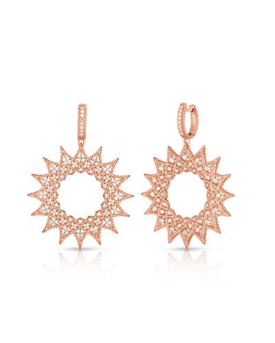 18k Rose Gold Roman Barocco Diamond Drop Earrings