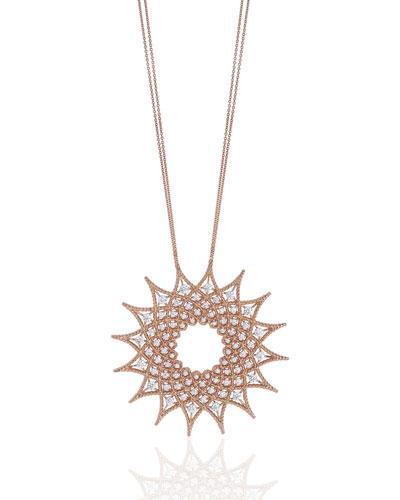 18k Rose Gold Roman Barocco Diamond Necklace, 1.98tcw