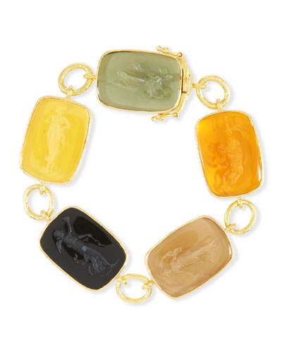 New Muse 19k Gold Glass Intaglio Bracelet