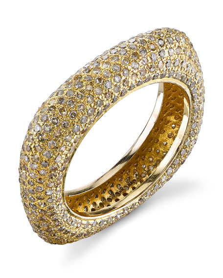 14k Gold Diamond Square Stack Ring, Size 8