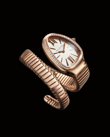 BVLGARI 35mm Serpenti Tubogas Diamond Coil Watch, Silver/Rose