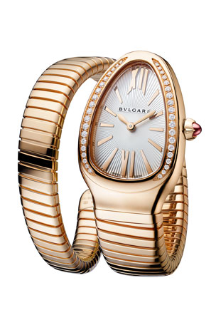 BVLGARI 35mm Serpenti Tubogas Diamond Coil Watch, Silver/Rose