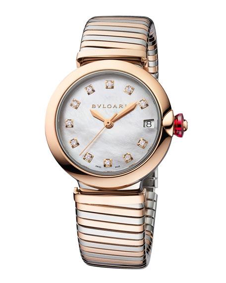 BVLGARI LVCEA Tubogas 33mm Diamond Bracelet Watch, Two-Tone
