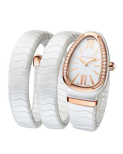 35mm Serpenti Spiga Diamond Coil Watch, White/Rose