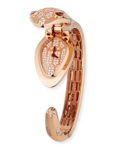 Serpenti Secret 18k Rose Gold Watch with Diamonds & Rubellite