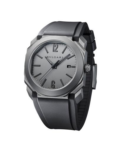 Men's 41mm Octo Solotempo Titanium Watch, Gray/Black