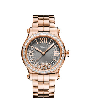 Chopard 18k Rose Gold Diamond Happy Sport Automatic Bracelet Watch 217475288e4