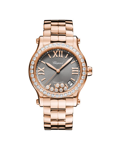 18k Rose Gold Diamond Happy Sport Automatic Bracelet Watch
