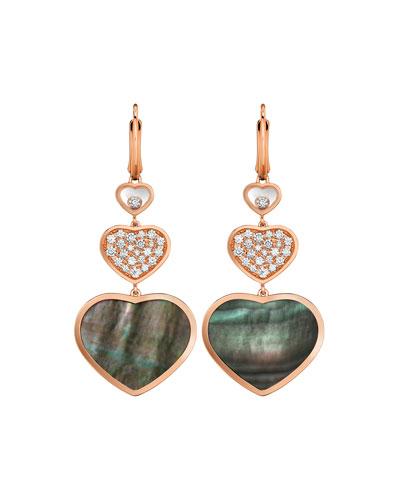 Happy Hearts Diamond & Malachite Triple-Drop Earrings
