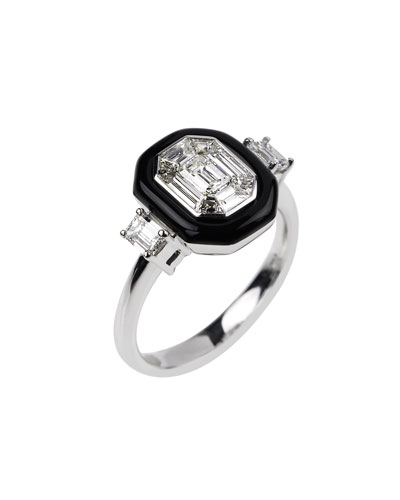 18k White Gold Oui Diamond & Black Enamel Ring  Size 6.75