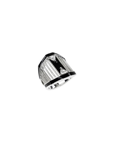 18k White Gold Oui Pave & Trillion Diamond Ring, Size 6.75