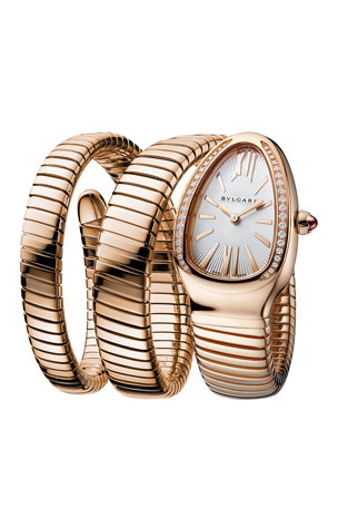 BVLGARI 35mm Serpenti Tubogas Rose Gold Diamond Watch