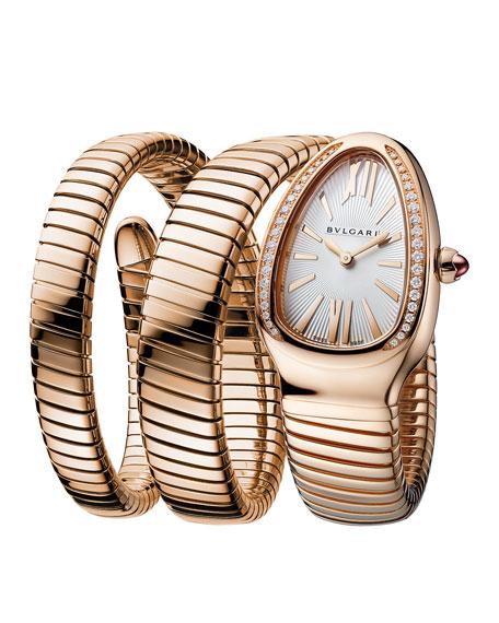 BVLGARI 35mm Serpenti Tubogas Rose Gold Diamond Watch