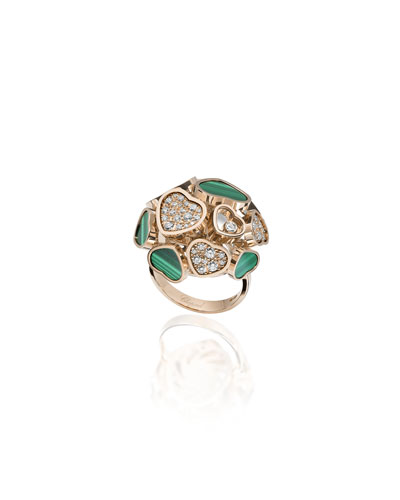 Happy Hearts 18k Rose Gold Malachite & Diamond Ring  Size 53
