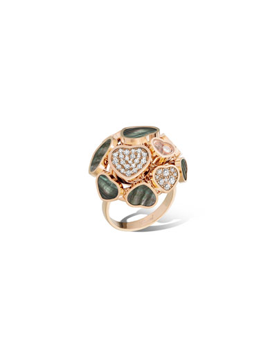 Happy Hearts 18k Rose Gold Mother-of-Pearl Ring