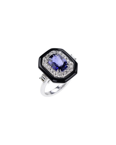 18k White Gold Oui Diamond & Sapphire Ring, Size 6.75
