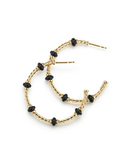 18k Gold Rio Rondelle Hoop Earrings in Black Onyx