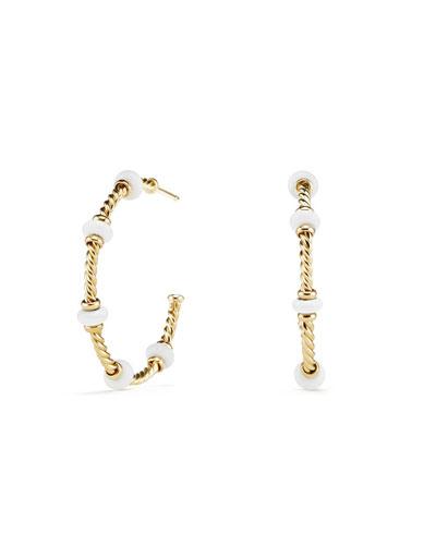 18k Gold Rio Rondelle Hoop Earrings in White Agate