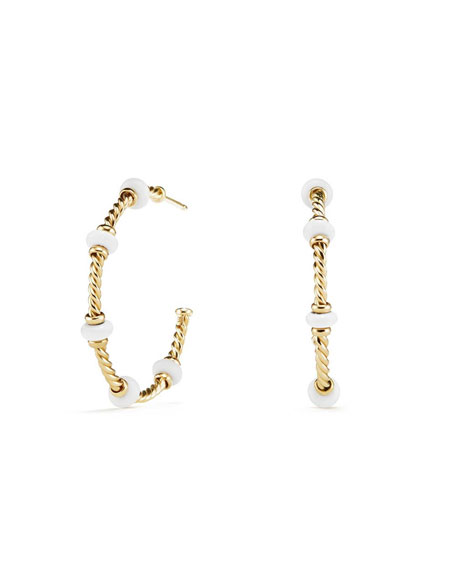 18k Gold Rio Rondelle Hoop Earrings in White Agate