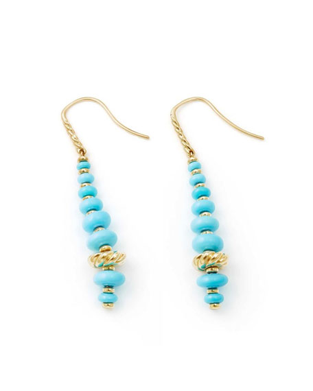 18k Gold Rio Rondelle Drop Earrings in Turquoise