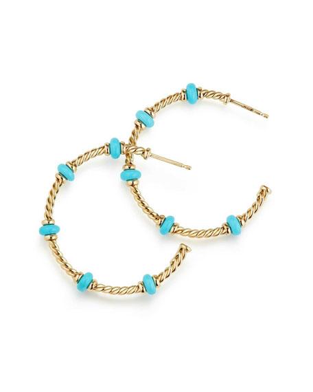 18k Gold Rio Rondelle Hoop Earrings in Turquoise