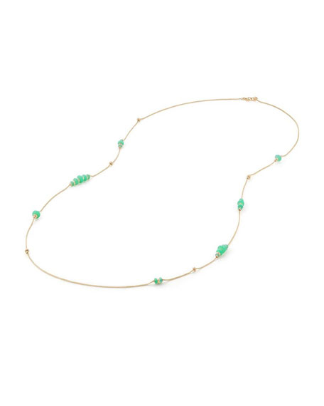 18k Gold Rio Rondelle Station Necklace in Chrysoprase, 36""